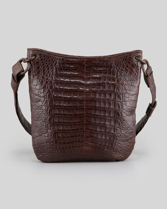 Small Crocodile Crossbody Zip-Top Bag, Brown