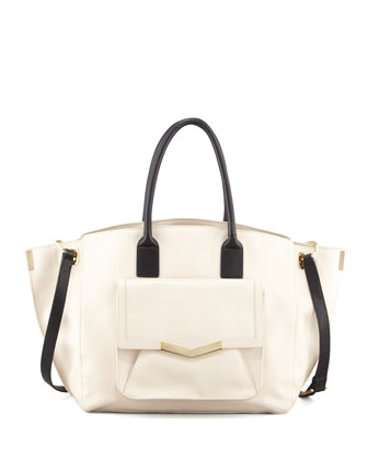 Jo Leather Tote Bag with Pocket, Bone