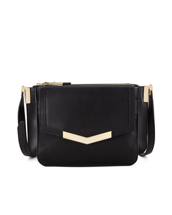 Mini Trilogy Leather Crossbody Bag, Black