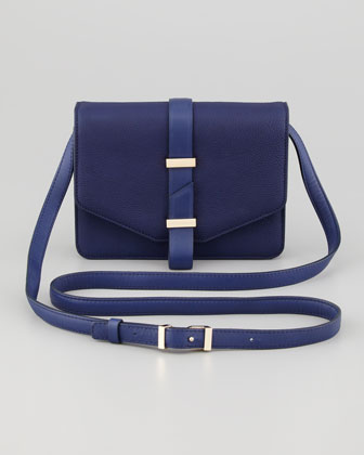 Mini Leather Crossbody Satchel Bag, Blue