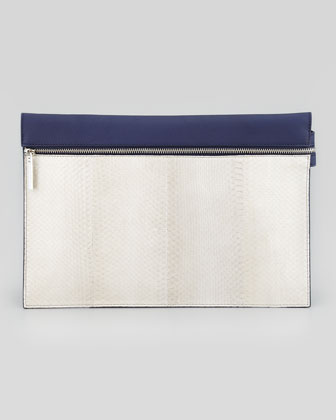 Large Snake Zip Clutch Bag, Gray/ Blue