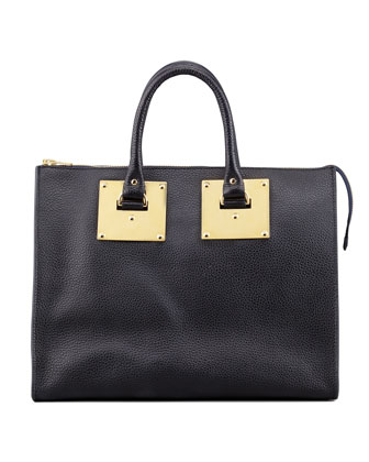 Stamped Zip Plate Tote Bag, Navy