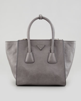 Soft Calf Small Twin Pocket Tote Bag, Gray