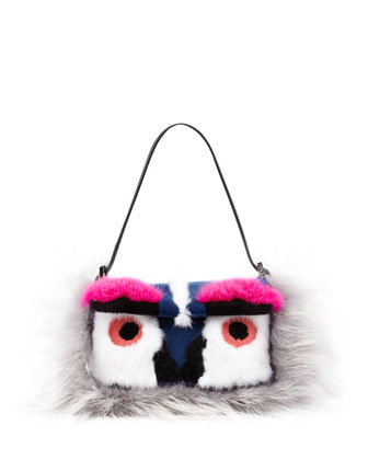 Baguette Fur Bird Mini Bag, Gray/Blue/Pink