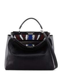 Peekaboo Sequin-Lined Handbag, Black