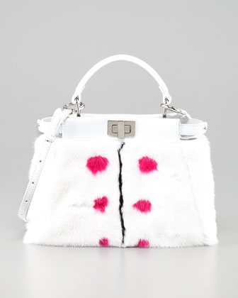 Peekaboo Small Dotted Fur Tote Bag, White