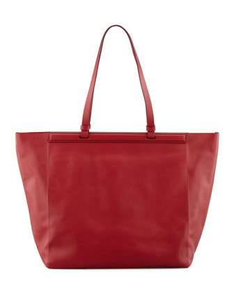 The Shopper Calfskin Tote Bag, Ruby