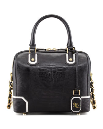 Olivia Lizard-Embossed Bag, Black/White