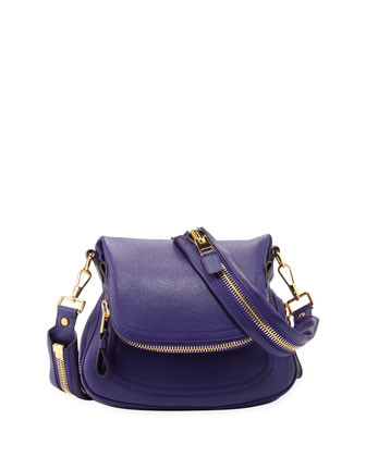 Jennifer Medium Leather Crossbody Bag, Purple
