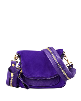 Jennifer Suede Mini Crossbody Bag, Purple