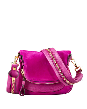 Jennifer Suede Mini Crossbody Bag, Magenta