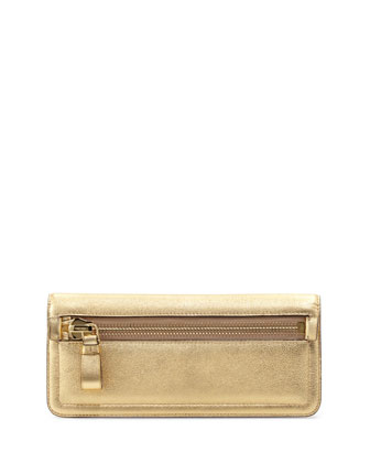 Jennifer Metallic Zip Clutch Bag, Gold