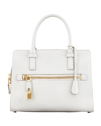Charlotte Small Leather Tote Bag, White