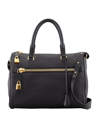 Frea Pebbled Satchel Bag, Black