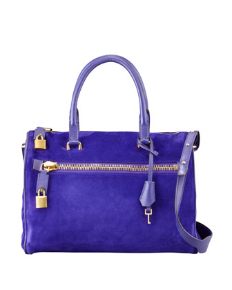 Frea Suede Padlock Satchel Bag, Purple