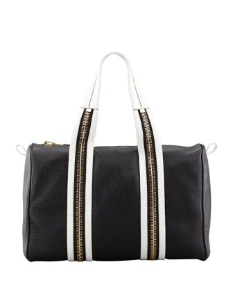 Bicolor Zip-Trim Duffel Bag, Black/White