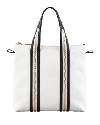 Zipper Leather Tote Bag, White/Black