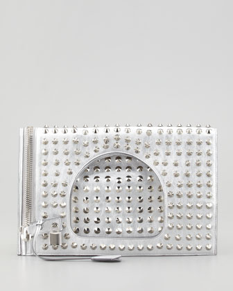 Alix Studded Fold-Over Clutch Bag, Silver