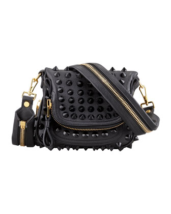 Jennifer Mini Studded Crossbody Bag, Black