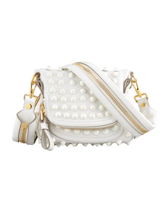Jennifer Mini Studded Crossbody Bag, White