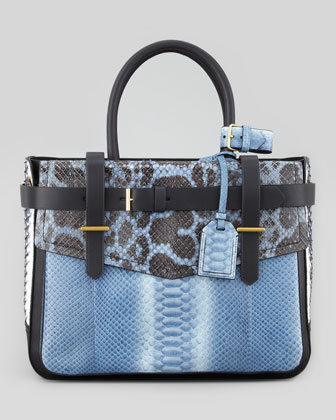 Python/Leather Boxer Tote Bag, Blue/Multi