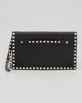 Rockstud Flap Wristlet Clutch Bag, Black