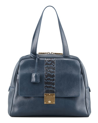 Checkers Snake-Trimmed Dome Tote Bag, Atlantic