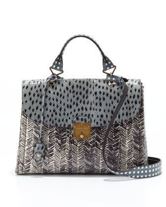 1984 Snakeskin Mixed-Print Satchel Bag, Cloud/Atlantic