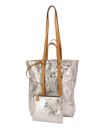 Tokyo Crinkled Metallic North-South Tote Bag