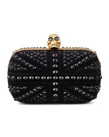 Crystal Britannia Box Clutch Bag, Black