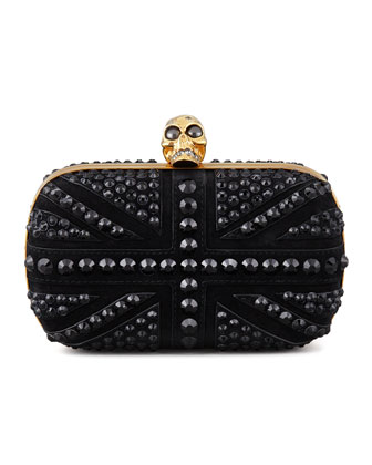 Crystal Britannia Box Clutch Bag, Black