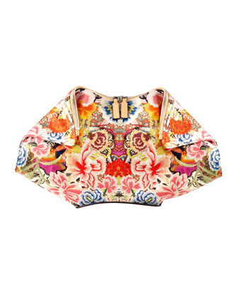 Floral-Print De-Manta Clutch Bag