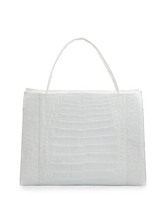 Large Crocodile Tote Bag, White
