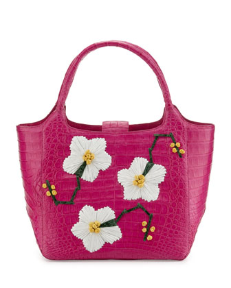 Small Crocodile Tote Bag with Floral Ornaments, Pink