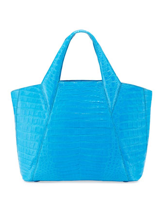 Medium Open Crocodile Tote Bag, Blue