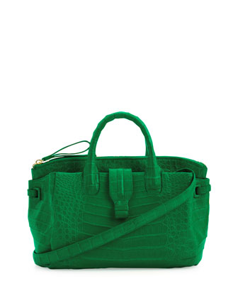 Medium Crocodile Satchel Bag, Green