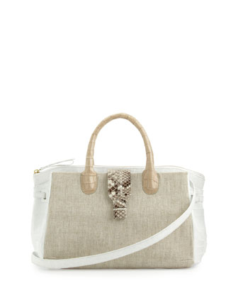 Bicolor Large Combo Satchel Bag, Taupe/White