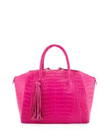 Medium Crocodile Tassel Dome Satchel Bag, Pink