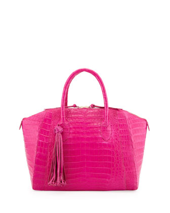 Medium Crocodile Tassel Dome Satchel Bag, Pink