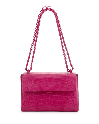 Crocodile Small Flap Shoulder Bag, Pink