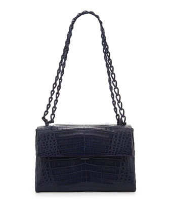 Crocodile Small Flap Shoulder Bag, Navy