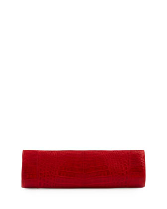 Slim Crocodile Clutch Bag, Red
