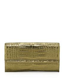 Crocodile Front Flap Bar Clutch Bag, Bronze