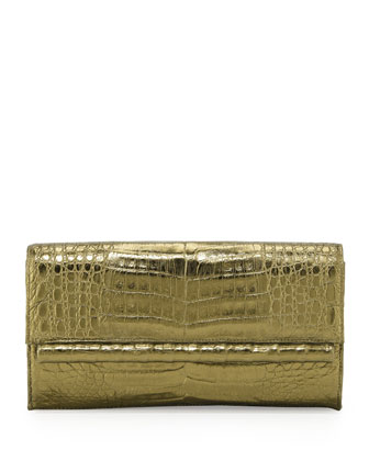 Crocodile Front Flap Bar Clutch Bag, Bronze
