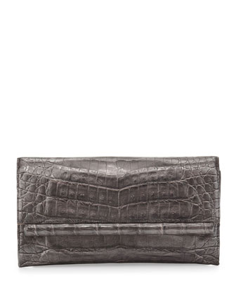 Crocodile Front Flap Bar Clutch Bag, Anthracite