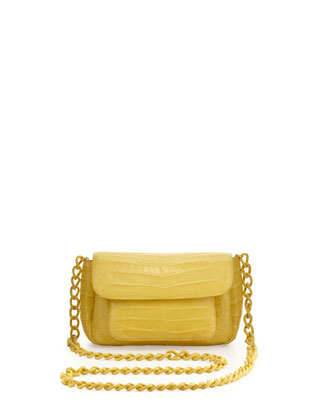 Crocodile Compartmentalized Mini Crossbody Bag, Yellow