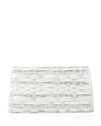 Woven Crocodile/Python Clutch Bag, White