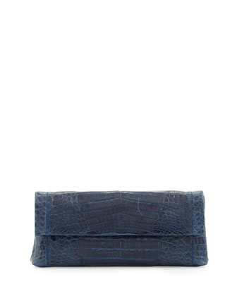 Medium Flap Crocodile Clutch Bag, Navy