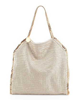 Falabella Large Metallic Woven Tote Bag, Bisque