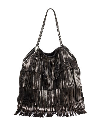 Fallabella Small Fringe Tote, Ruthenium